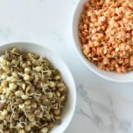 Overhead shot of two white bowl one with sprouted green lentils and one with sprouted red lentils on a white marble surface
