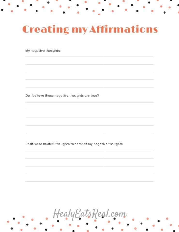 Image of worksheet with title 'creating my affirmation' and journal lines for writing