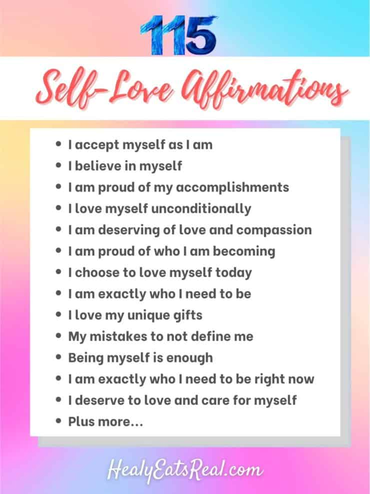 Text with title '115 self love affirmations' followed by a list of various affirmations