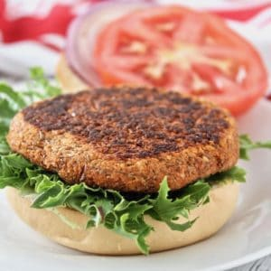 Close up of open faced sprouted lentil burger on green lettuce on a bun on a white plate with tomato and onion in the background